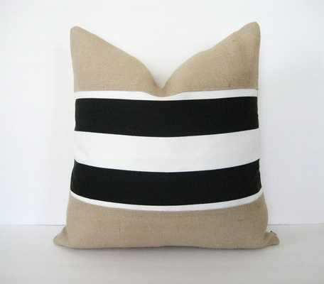 Pillow Cover Burlap Black & White - Etsy