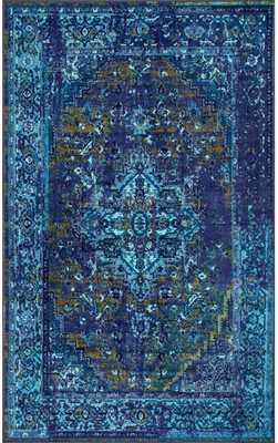 Ashlina Persian Overdyed Vintage Rug - Blue - 8' x 10' - Rugs USA