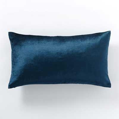 """Cotton Luster Velvet Pillow Cover - Regal Blue - 12"""" x 21"""" - Insert sold separately - West Elm"""