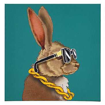 Hipster Bunny - 12''W x 12''H - Unframed - Z Gallerie