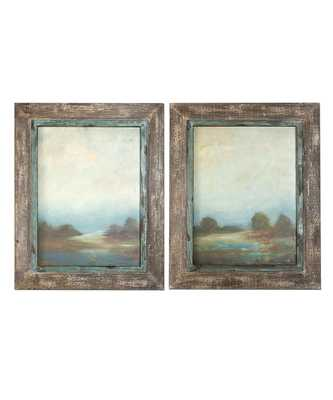"""Morning Vistas Framed Oil Reproduction - Set of 2 - 31"""" x 25""""- Framed(Off-white and taupe ) - Bliss Home and Design"""