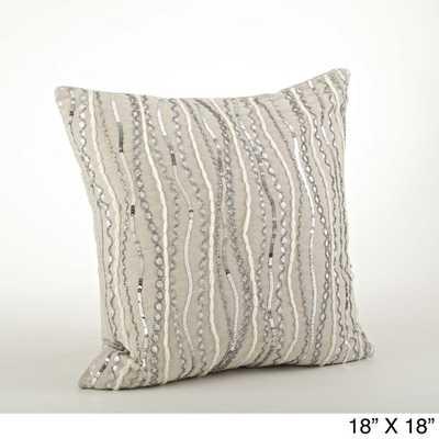Beaded Design Throw Pillow - Tan - 18 x 18 - Down Insert - Overstock