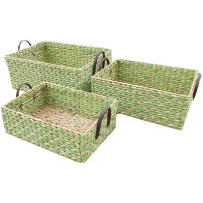 2 Tone 3 Piece Rush Basket Set - Green - Wayfair