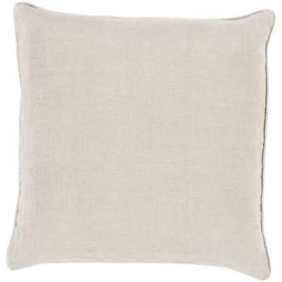 """Franklin Bordered Linen Throw Pillow-18""""x18""""-Down Insert - Wayfair"""