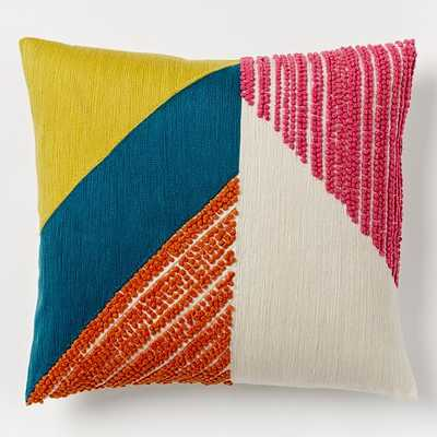 "Angled Crewel Pillow Cover, Multi - 16""sq. - Insert sold separately - West Elm"