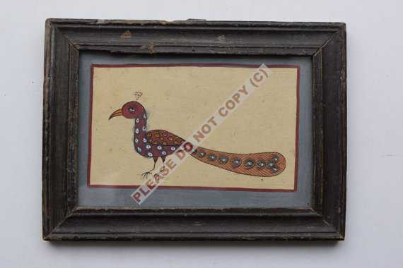 Rare Vintage Peacock Painting Old Hand Colour - Etsy