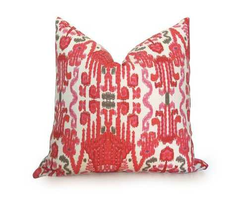 Stella Ikat Pillow Cover, Coral - 12X18, No Insert - Willa Skye