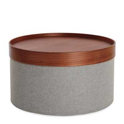 Drum Pouf, Wide - Dark Walnut - Design Within Reach