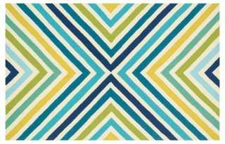 Lennon Outdoor Rug, Blue/Green - One Kings Lane