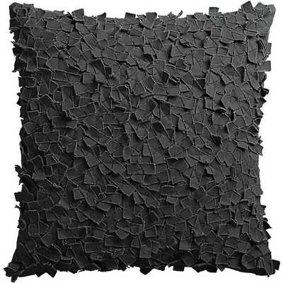 "Rimple black 20"" pillow with down-alternative insert - CB2"