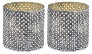 S/2 Dimpled Votive Holders, Gray - One Kings Lane