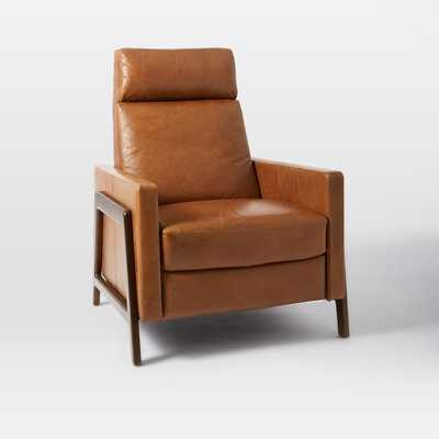 Spencer Wood Framed Recliner, Saddle, Espresso Legs - West Elm