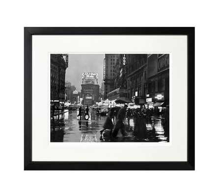 """The New York Times Archive - Times Square In The Rain - 1940-20""""x17""""-Framed - Pottery Barn"""