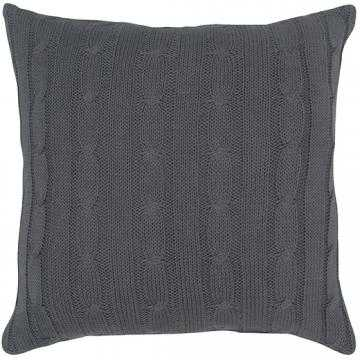 "Cable Knit Decorative Pillow, Light gray - 18''x 18"" (Polyester fill insert) - Home Decorators"