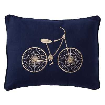 Sheringham Road Cooper Bicycle Decorative Pillow - Navy Blue- Polyester insert - Target