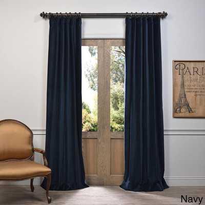EFF Vintage Cotton Velvet 84-inch Length Curtain Panel - Navy - Overstock