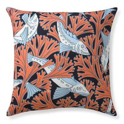 """Outdoor Printed Jungle Pillow, Fish - 22"""" sq. - Poly Fill - Williams Sonoma Home"""