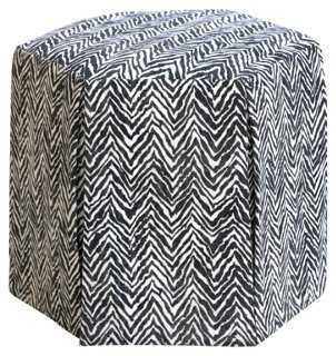 Nora Skirted Ottoman, Charcoal Chevron - One Kings Lane