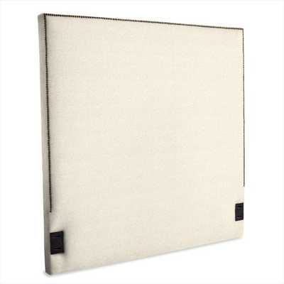 Tall Nailhead Upholstered Headboard-King-Nubby Weave-Snow - West Elm