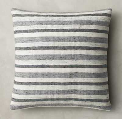 """DOUBLE PINSTRIPE PILLOW COVER - Grey - 22"""" x 22"""" - Insert Sold Separately - RH"""