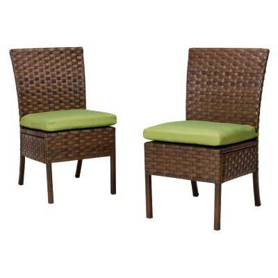 Belmont 2-Piece Wicker Patio Armless Dining Chair Set - Target