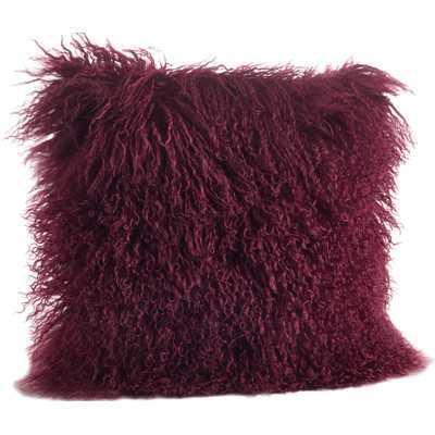 "Mongolian Lamb Fur Wool Throw Pillow-16"" x 16"" - Eggplant- Polyester/Polyfill insert - Wayfair"
