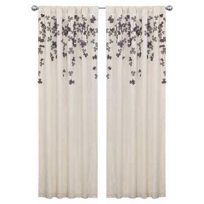 Flower Drop Rod Pocket Single Curtain Panel - Ivory/Purple - Wayfair
