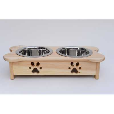 Carved Paws Double Bowl Elevated Feeder-Natural - Wayfair