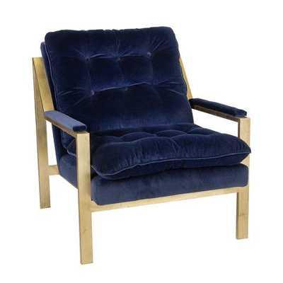 Cameron Armchair - Gold Leafed - Navy Velvet - Domino