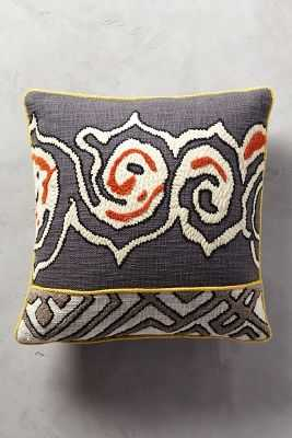"Tufted Ariany Pillow - Dark Grey - 18"" x 18"" - Polyfill - Anthropologie"