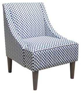 Quinn Swoop-Arm Chair, Navy Dots - One Kings Lane