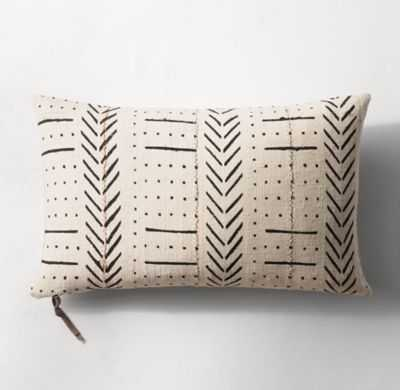 HANDWOVEN AFRICAN MUD CLOTH VARIED PATTERN LUMBAR PILLOW COVER - NATURAL/BLACK - RH