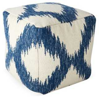 Delilah Wool Pouf, Ivory/Iris - One Kings Lane