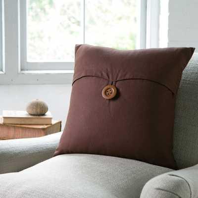 "Lena Pillow Cover - Chocolate, 18"" (No insert) - Birch Lane"