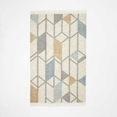 Abstract Angles Wool Dhurrie Rug - West Elm