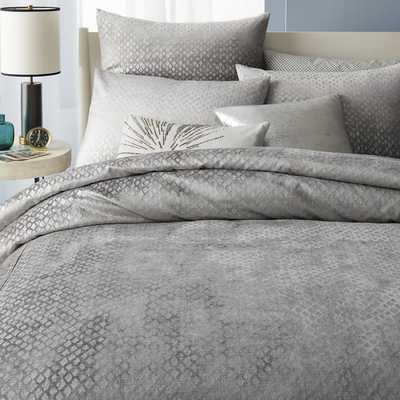 Washed Diamond Luster Velvet Duvet Cover - King - West Elm