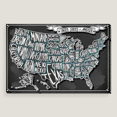 USA on Vintage Handwriting Blackboard Wall Art - World Market/Cost Plus