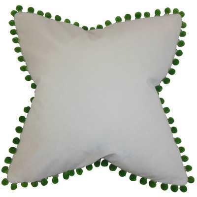 "Leire Pompom Velvet Throw Pillow - White and Green - 18"" H x 18"" W - Down/Feather insert - Wayfair"