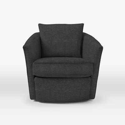 Duffield Swivel Chair - Tweed, Asphalt - West Elm