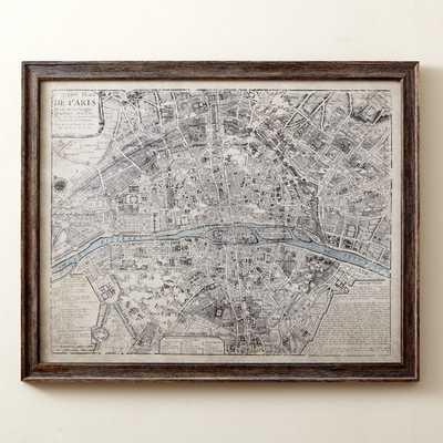 "Sepia Paris Map Framed Print - 25"" H x 31"" W x 0.75"" D - Birch Lane"
