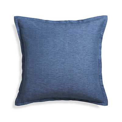 """Linden Indigo Blue 23"""" Pillow with Feather-Down Insert - Crate and Barrel"""