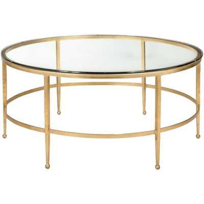 Safavieh Couture Collection Edmund Antique Gold Gilt Round Cocktail Table - Overstock