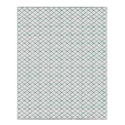 Watercolor Trellis Wool Shag Rug - Blue Teal - West Elm