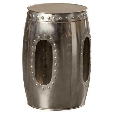 Industrial Barrel Stool - Mirror Nickel - Wayfair