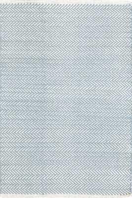 HERRINGBONE SWEDISH BLUE WOVEN COTTON RUG 6' x 9' - Dash and Albert