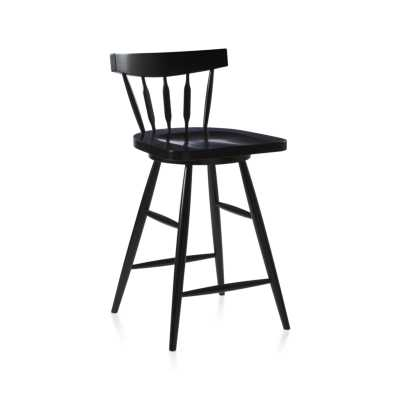 Willa Swivel Black Counter Stool - Crate and Barrel