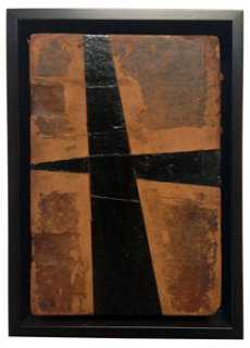 Cross roads on antique leather cover - One Kings Lane