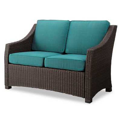 Belvedere Wicker Patio Loveseat - Turquoise - Target