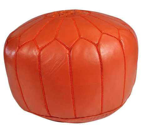 Orange Leather Pouf - Domino