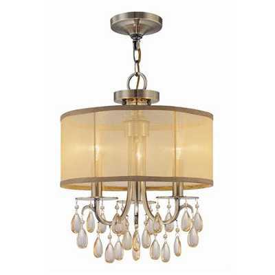 Modern Glam Shaded Crystal Ceiling Light - 3 Light - shadesoflight.com